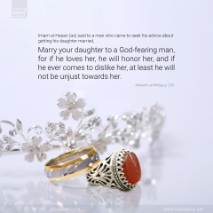 Marry your daughter to a God-fearing man...